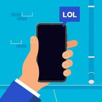 Hand holding black mobile phone with  popped lol word  icon on the screen isolated on wall background. Smartphone in human's hand vector illustration flat design style chatting in bubbles concept