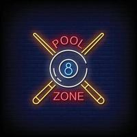 Pool Zone Neon Signs Style Text Vector