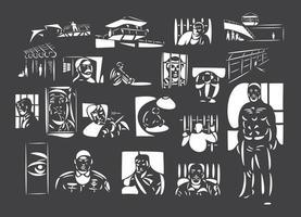ilustraciones vectoriales de arte lineal de personas en la cárcel. vector