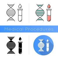 Genetic testing icon. DNA examination. Medical procedure. Laboratory check. Biochemistry. Chromosome, gene helix. Science. Flat design, linear and color styles. Isolated vector illustrations