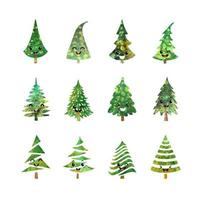 Vector colorful illustration set of a Christmas tree icons isolated on white background, with cute emotional faces