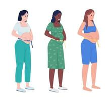 Expecting mom semi flat color vector character set. Standing figures. Full body people on white. Family members isolated modern cartoon style illustration for graphic design and animation pack