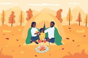 Family camping in autumn flat color vector illustration. Mother and father sitting with kid in front of campfire. Happy parents with child 2D cartoon characters with landscape on background