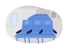 Airplane passenger seats row 2D vector isolated illustration. Sits for flight journey. Plane first class flat interior on cartoon background. Inside public transport colourful scene
