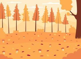 Autumn woods flat color vector illustration. Seasonal landscape with growing mushrooms. Panoramic autumnal countryside. Fall forest 2D cartoon landscape with no people on background