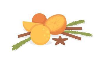 ingredientes para objetos vectoriales de color semi plano de vino caliente. naranjas frescas. artículo completo en blanco. cosecha otoñal aislado ilustración de estilo de dibujos animados moderno para diseño gráfico y animación vector