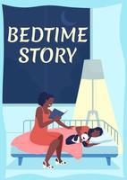 Mother reading to child poster flat vector template. Mom putting kid to bed. Brochure, booklet one page concept design with cartoon characters. Bedtime story flyer, leaflet with copy space