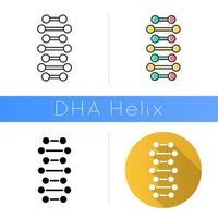 DNA spiral chains icon vector