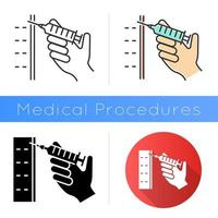 Injection icon. Syringe with vaccine. Immunization. Clinical treatment. Disease prevention. Hospital services. Cosmetical filler. Flat design, linear and color styles. Isolated vector illustrations