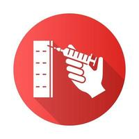 Injection red flat design long shadow glyph icon vector