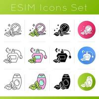 Organic cosmetics icons set vector