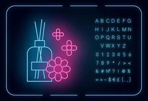 Aromatherapy neon light icon. Scented sticks. Air floral freshener. Female selfcare. Blossom aroma. Essential oils. Glowing sign with alphabet, numbers and symbols. Vector isolated illustration