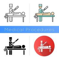 Autopsy icon. Disambiguation. Deceased patient. Corpse with tag. Body in morgue. Death cause. Medical forensic procedure. Flat design, linear and color styles. Isolated vector illustrations