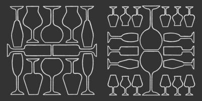 Wineglasses chalk icons set. Restaurant service. Alcohol bar. Port and madeira glasses. Alcoholic beverages glassware. Isolated vector chalkboard illustrations