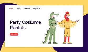 Party costume rental landing page vector template