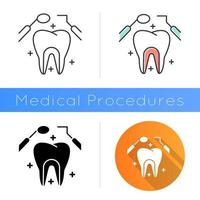 Dental care icon. Medical procedures. Dentistry. Tooth examination. Cavity treatment. Caries prevention. Oral healthcare. Toothache. Flat design, linear and color styles. Isolated vector illustrations