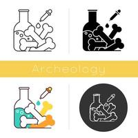 Laboratory analysis icon. Archeological discoveries. Ancient human and animal bones. Chemistry study of fossil. Paleontology. Flat design, linear and color styles. Isolated vector illustrations