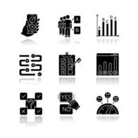Survey drop shadow black glyph icons set. Online poll. Choose option. Select answer. Approve, disaprrove. Social opinion. Mass poll. Written test. Statistics infograph. Isolated vector illustrations
