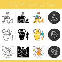 Archeology icons set. Excavation. Ancient artifacts. Amphora and goblet. Prehistoric man. Caveman with weapon. Flat design, linear, black and color styles. Isolated vector illustrations