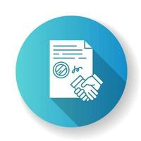 Conclusion of contract blue flat design long shadow glyph icon vector