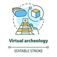 Virtual archeology concept icon vector