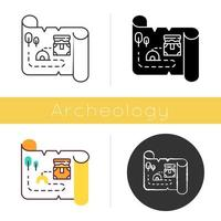 Treasure map icon. Ancient manuscript. Old scroll. Treasure chest location. Historical artifacts. Mystery parchment. Pirate gold. Flat design, linear and color styles. Isolated vector illustrations
