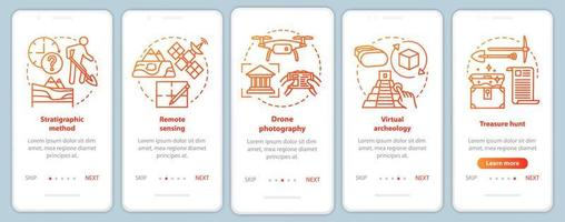 Archeology methods onboarding mobile app page screen vector template