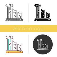 Ancient ruins icon. Broken columns. Greek pillars. Lost cities and civilizations. Archeology. Historical monuments. Flat design, linear and color styles. Isolated vector illustrations