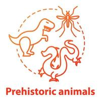 Prehistoric animals concept icon. Paleontological researching. Study of extinct and mythical animals. Evolution theory Vector isolated outline RGB color drawing
