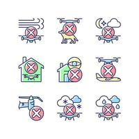 Drone restrictions RGB color manual label icons set vector