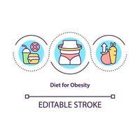 dieta para el icono del concepto de obesidad vector