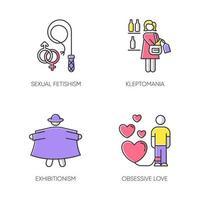 conjunto de iconos de colores de trastorno mental. fetichismo sexual. cleptomanía. exhibicionismo. amor obsesivo. robar alcohol. relación posesiva. perversión y desviación. ilustraciones vectoriales aisladas vector
