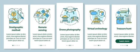 Archeology methods onboarding mobile app page screen with linear concepts vector