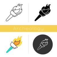 Medieval torch icon. Flambeau. Burning fire. Bright beacon. Flare, bonfire. Ancient olympic sport victory. Historical discovery. Flat design, linear and color styles. Isolated vector illustrations