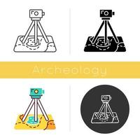 Field survey icon. Research equipment. Archeological exam. Digital tool on map. Geological inspection. Topographic data gathering. Flat design, linear and color styles. Isolated vector illustrations