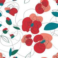 Meadow poppy floral seamless pattern. Summer garden retro texture. Vector hand-drawing countryside pattern. Spring floral vector illustration. White background. Millefleur line-art print
