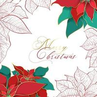 Silk Poinsettia Christmas square background for social networks. Red and green silk leaves with golden line on a white background. Christmas and New Year elegance decor vector
