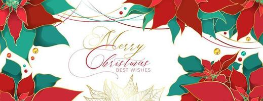 Christmas Poinsettia modern header in an elegant luxury style. Red and green silk leaves with golden line on a white background. Christmas and New Year social networks decor vector
