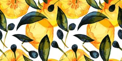 Citrus and olive fruits garden. Seamless pattern with traced watercolor. Cute decor for home and cafe textiles, for packaging decor and wall papers. vector
