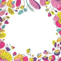 Floral background for social network post or square postcard with summer flowes. Flowerbed with bright neon colors. White background vector