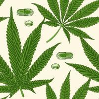 Medical cannabis marijuana nine-pointed leaves and pills, hand drawn seamless pattern vector