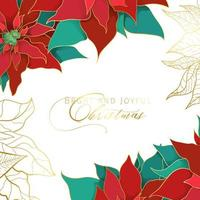Christmas Poinsettia white square frame in an elegant luxury style. Red and green silk leaves with golden line on a white background. Christmas and New Year social networks decor vector