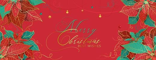 Christmas Poinsettia gala red header in an elegant luxury style. Red and green leaves with golden line on a light red background. Christmas holidays social networks decor vector