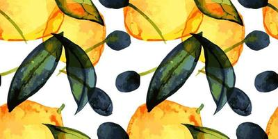 Lemons and olives. Seamless pattern with traced watercolor. Cute decor for home and cafe textiles, for packaging decor and wall papers. vector