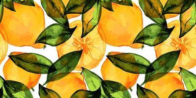 jardín de limón, frutas frescas de limón y rodajas y hojas. patrón sin fisuras con acuarela trazada. decoración para lindos textiles de café y papel de regalo vector