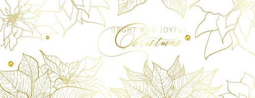 Christmas Poinsettia white head banner in an elegant luxury style. Golden line poinsettia leaves on a white background. Christmas and New Year social networks decor vector