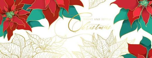 Christmas Poinsettia white head banner in an elegant luxury style. Red and green silk leaves with golden line on a white background. Christmas and New Year social networks decor vector