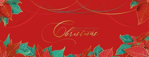 Christmas Poinsettia red greeting header in an elegant decorative style. Red and green leaves with golden line on a red background. Christmas holidays social networks decor vector