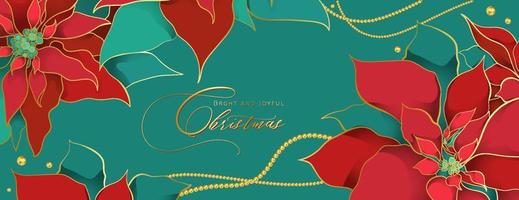 Christmas Poinsettia green header in an elegant luxury style. Red and green silk leaves with golden line on a green background. Christmas and New Year social networks decor vector