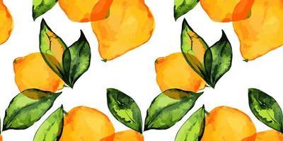 jardín de limón, frutas y hojas frescas de limón. patrón sin fisuras con acuarela trazada. vector